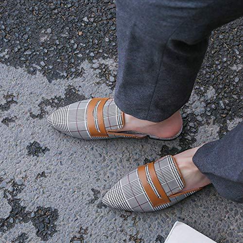 Sandalias Clásico Tacones Zapatillas Moda Chancletas Mini Marrón de Femeninos Mujer Casuales qSxwCgIZ
