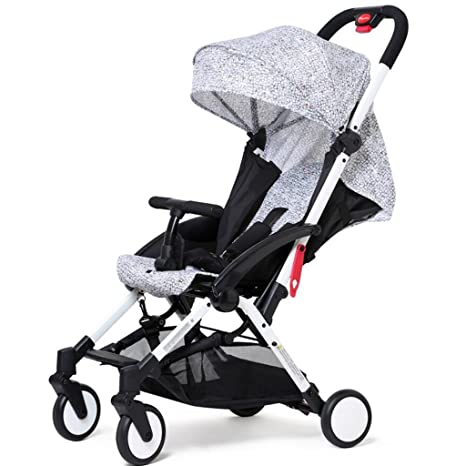 Cochecito de bebé puede sentarse horizontal portátil plegable 4 ruedas carro de choque de viaje Cuatro