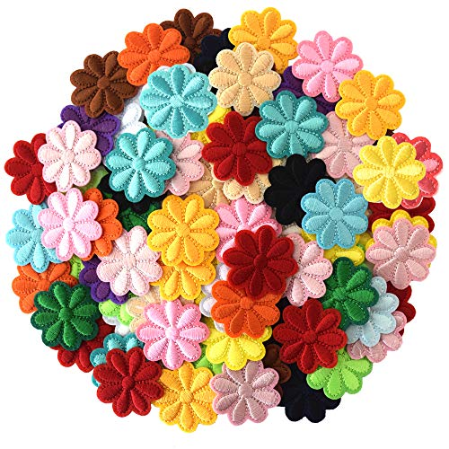 SHELCUP 100PCS Random Flowers Cool Embroidered Iron on Patches, for Jackets, Packs, Jeans, Assorted Styles