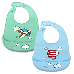 Panda Silicone Baby Bibs Waterproof Baby Bib for Girls and Boys Easily Wipe Clean with Food Catcher Pocket Set of 2 Colors (Sky-01-blue/green)