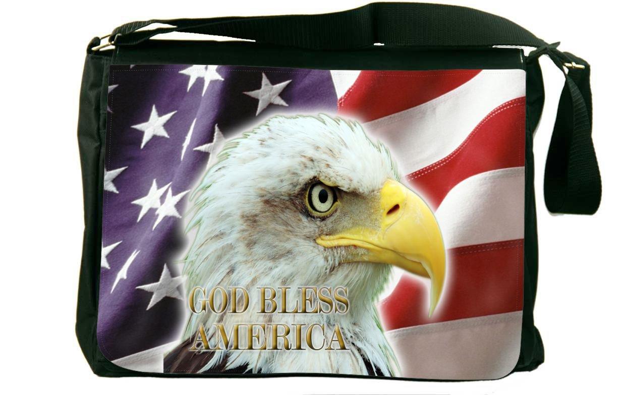 Rikki Knight American Flag Eagle Messenger Bag School Bag