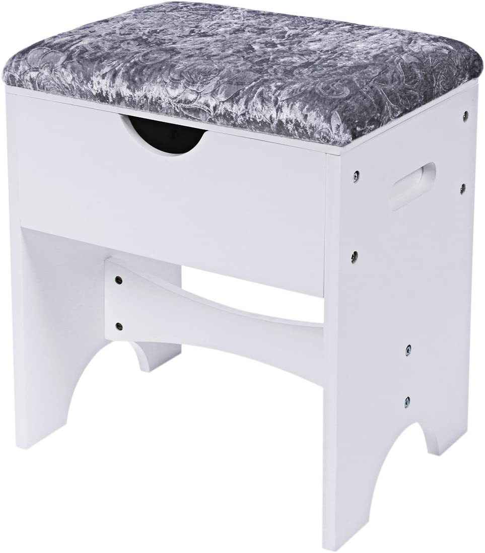 BEWISHOME Vanity Stool Bedroom Makeup Vanity Bench Piano Seat with Upholstered Seat and Storage, White FSD01M