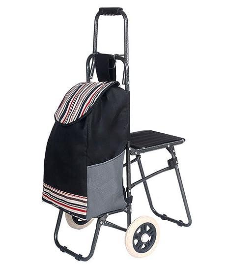 El Carrito con asiento con ruedas carrito de la compra supermercado – Carro de compra plegable