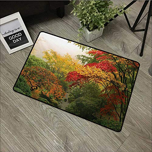 Moses Whitehead Entrance Mat Garden,Maple Trees in The Fall at Portland Japanese Garden One Foggy Morning Scenery,Red Yellow Green,Indoor Outdoor, Waterproof, Easy Clean, Low-Profile Mats,35