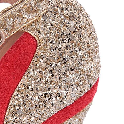 Korkokengät Kengät Suljettu Mary Toe Naisten Metalornament Punaisella Pu Pumppu Pyöreä Ftosted Voguezone009 Jane EvYxqwE