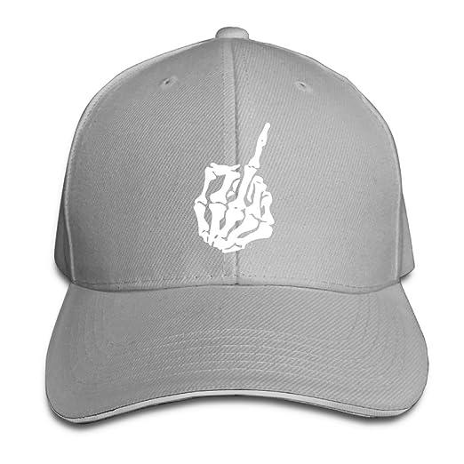 9de84d76dc703 Image Unavailable. Image not available for. Color  Skull Middle Finger  Classic 100% Cotton Hat Caps Unisex Fashion Baseball Cap Adjustable Hip Hop