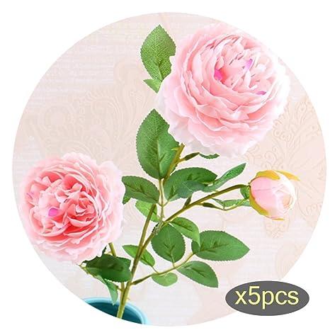 3 cabezales de seda peonías rosas artificiales Props peonía flor Artificial ramos arreglo 5 pcs para