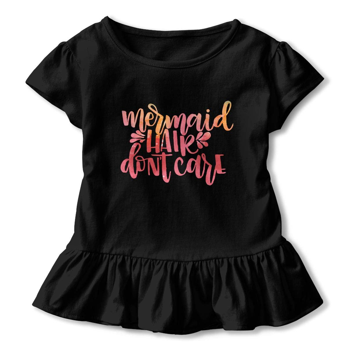 Mermaid Hair Dont Care Toddler Baby Girls Short Sleeve Ruffle T-Shirt