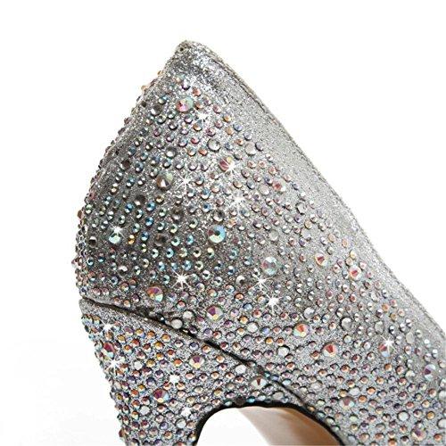 Rhinestones Zapatos uk Estilete Vestir Noche Cristal Paseo Plata Eur Zapatos 5 Zapatillas Silver 5 eur36uk354 Talones Boda Nupcial Corte Alto 38 Mujeres Nvxie UxwqYSZAx