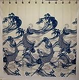 Hawaii Theme 100% Polyester Fabric Shower Curtain Blue Koi Fish