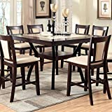 Brent Traditional Style Dark Cherry Finish 9-Piece Counter Height Table Set