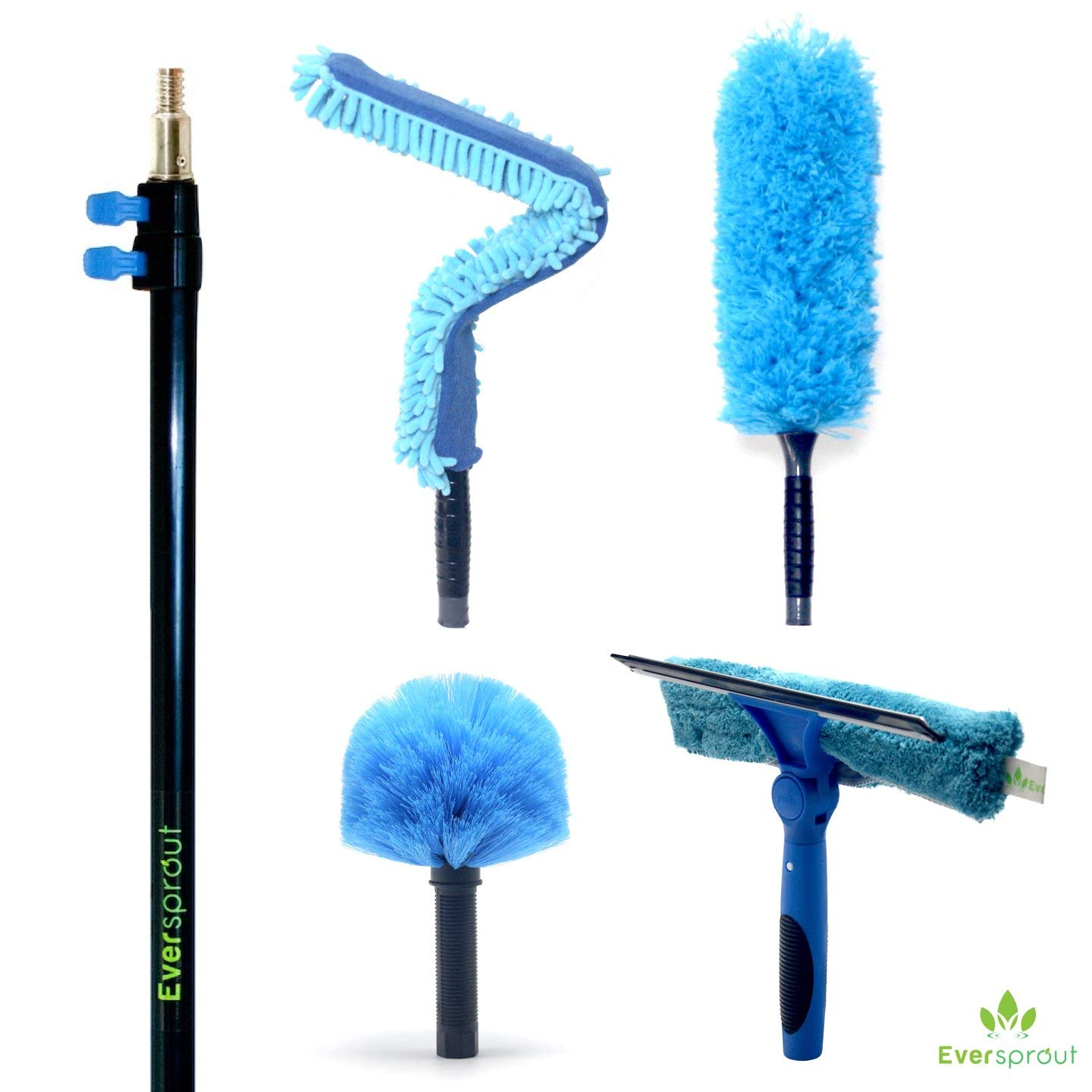 EVERSPROUT 4-Pack Duster Squeegee Kit with Extension-Pole (20+ Foot Reach) | Swivel Squeegee, Hand-Packaged Cobweb Duster, Microfiber Feather Duster, Flexible Ceiling Fan Duster, 12 ft Telescopic Pole by EVERSPROUT (Image #2)