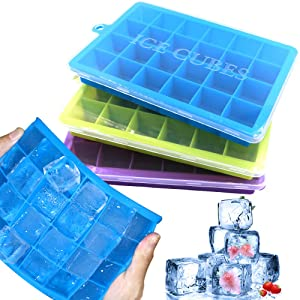 3 Packs Silicone Ice Cube Trays, Food Grade BPA free Ice Trays with Removable Lids, Easy Ice Release 24 Ice Cube Molds Ideal for Whiskey, Cocktails, Juice, Freezer, Baby Food and Frozen Treats