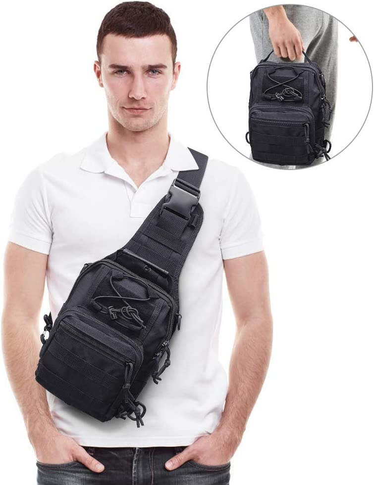 AIRSSON Tactical Shoulder Sling Backpack,Military Sport Pack,Fishing Bag,Chest Pack for Men Rover Sling Pack Trekking Hunting