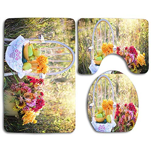(Bath Mat Sets Still Life Pears Fruits Bowl Contour Rug U-Shaped Toilet Lid Cover,Non Slip,Machine Washable,3-Piece Rug Set Easier to Dry for Bathroom)