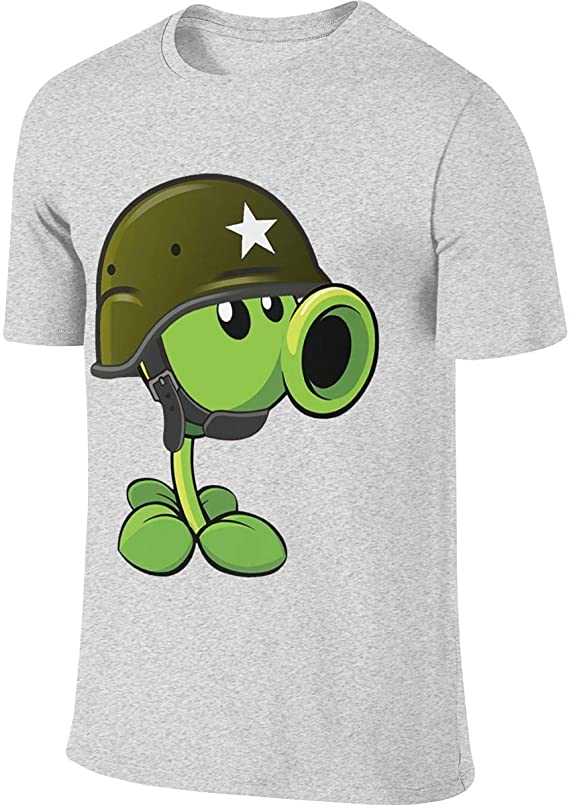 Zombies Pea Shooter Short Sleeve Funny T Shirts for Lady Black Runxin Custom Plants Vs