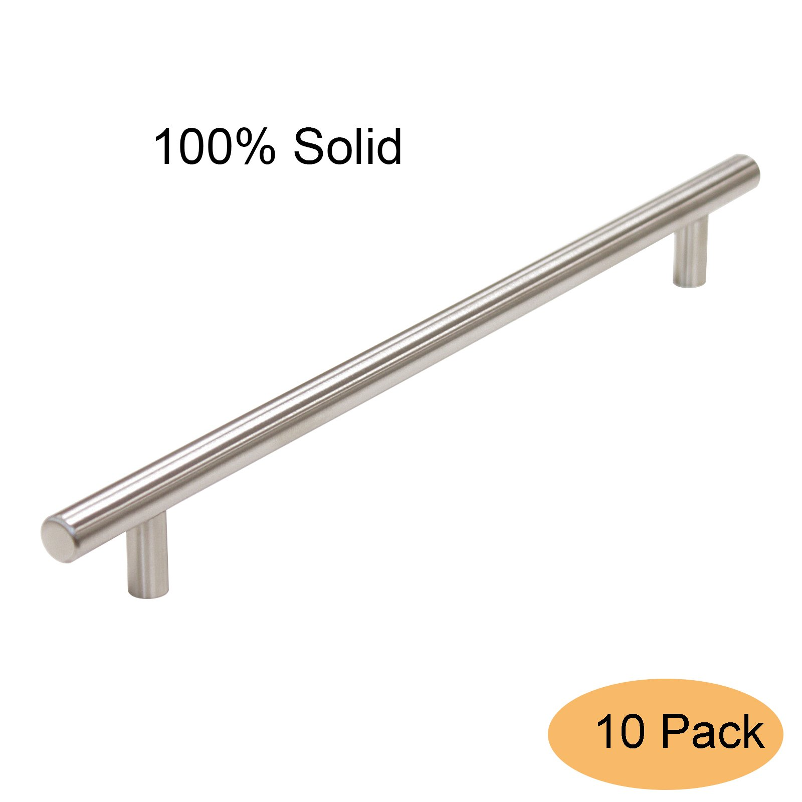 Gobrico Kitchen T-bar Cabinet Handle Pull for Furniture Drawer Cupboard Dresser 10'' Hole Center Solid Stainless Steel,10 Pack