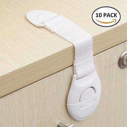 Enjoygoeu_ES 10Pcs Multifuncional Cerraduras de Seguridad Bloqueo Magnético de Cajones Armarios Estantes Gabinetes Puertas para Niños