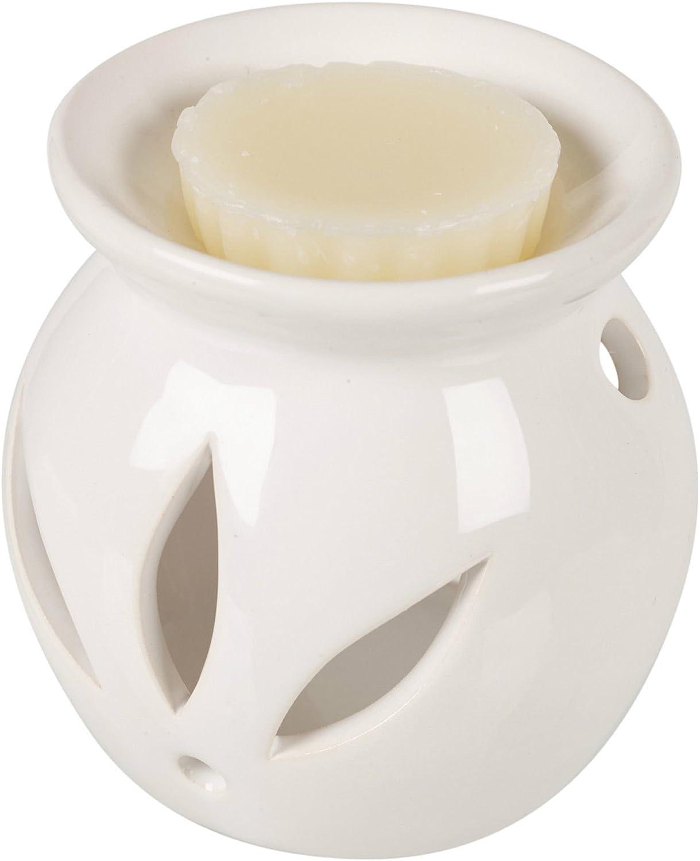 Blanc Bougie parfum/ée Br/ûleur en c/éramique avec cire Parfum Relaxant de moule /à tarte maison Parfums