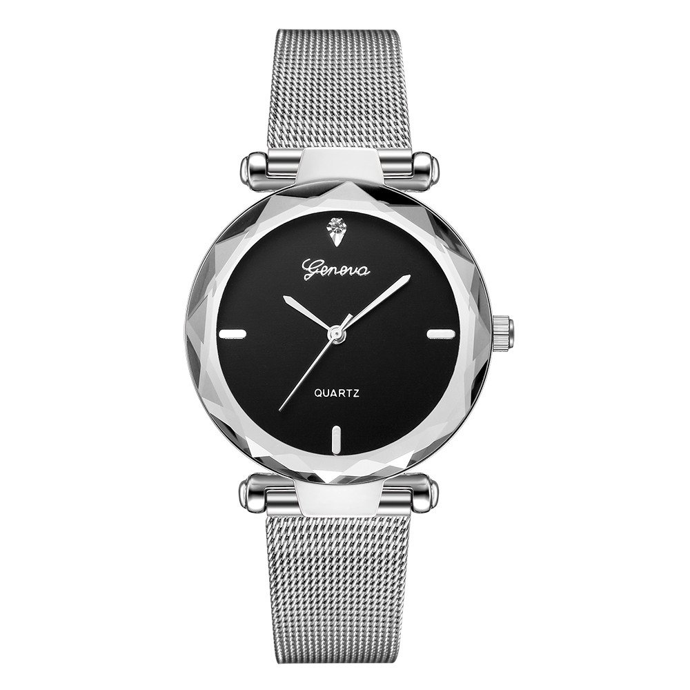 Starry Sky Watch for Women, Crystal Dial Analog Quartz Wristwtach with Buckle Mesh Steel Band Bravetoshop R6209(D)