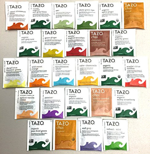 PowerTea Medley Gift Box Tazo Tea Variety 50 Tea Bags with Power for Apple Honey Sticks ()