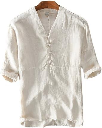 Icegrey Hombre Henley Camisa De Lino De Manga Larga Casual Camisas con Cuello V: Amazon.es: Ropa y accesorios