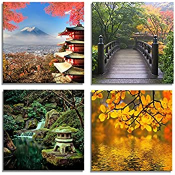 the decor shop canvas prints fuji mountain across lake temple bridge photos on canvas japanese style wall art framed modern decor paintings giclee - Home Decor Paintings