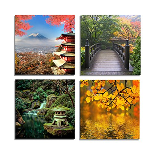 Yang Hong Yu Canvas Prints Fuji Mountain Across Lake, Temple Bridge Photos on Canvas Japanese Style Wall Art Framed Modern Decor Paintings Giclee Artwork for Home Decoration 12x12inch (Art Wall Temple Painting)