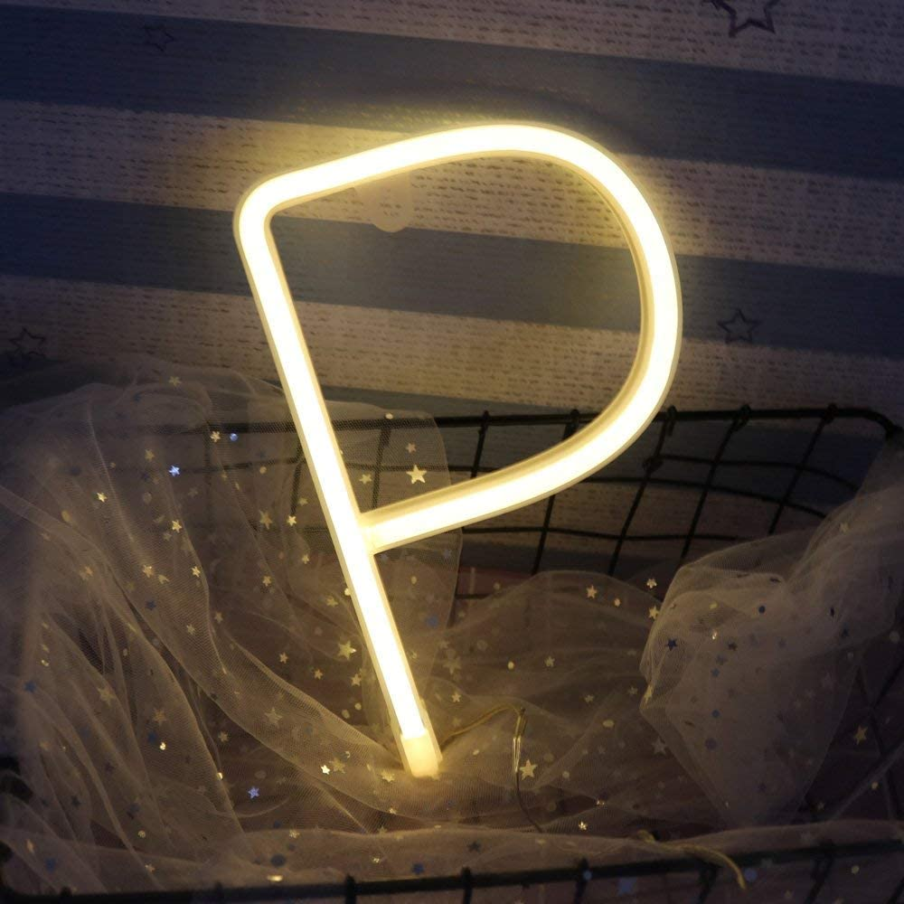 ENUOLI Blanco c/álido Cartas del ne/ón de la muestra llevada luz de la noche de la l/ámpara de ne/ón del alfabeto hasta signos de la bater/ía o USB Operado de pared luces decorativas para la boda de la fi