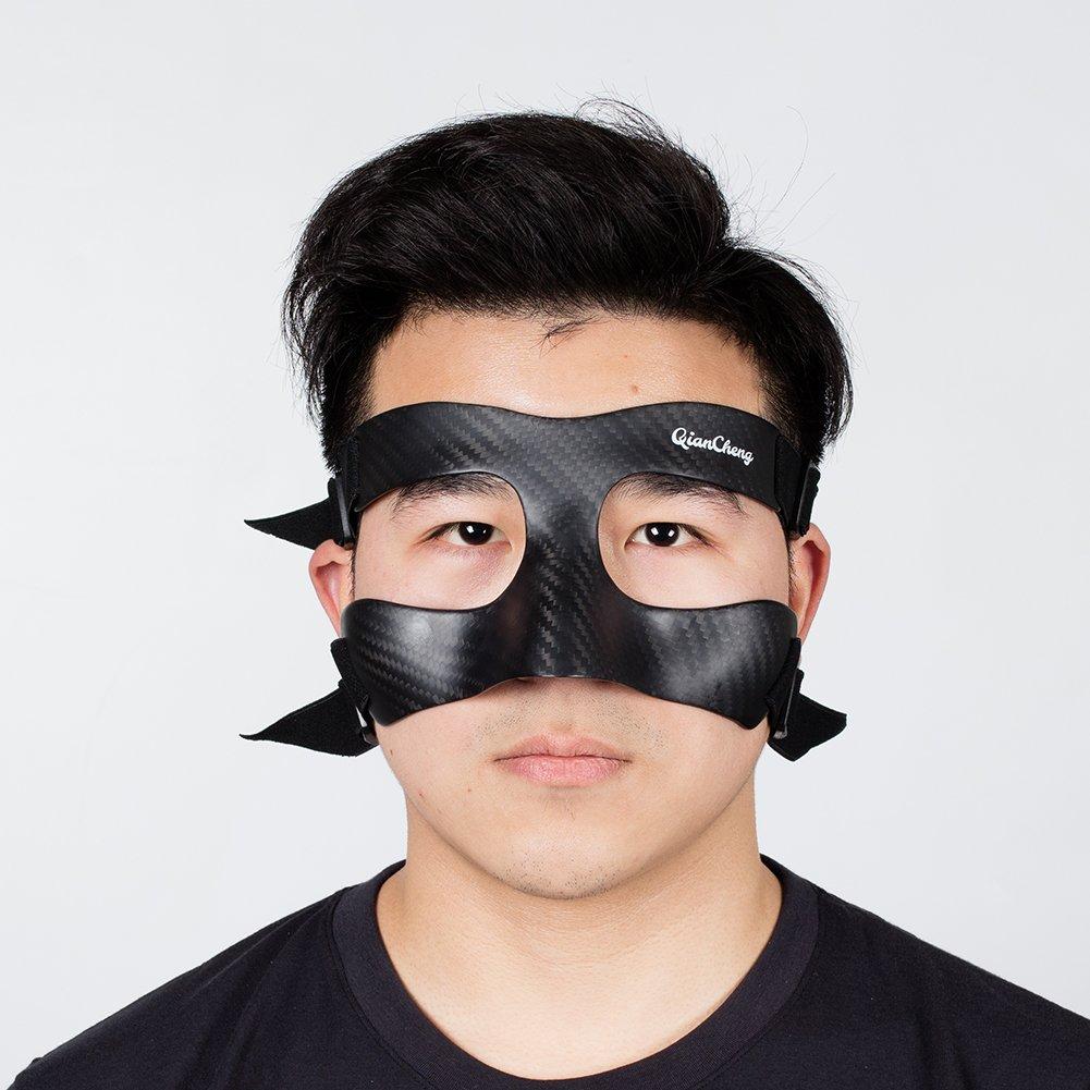 Qian Cheng Máscara Facial Guardia Nariz     Máscara de Protección de Fibra de Carbono–de Sarga Weave Pattern qc-Pro-TW
