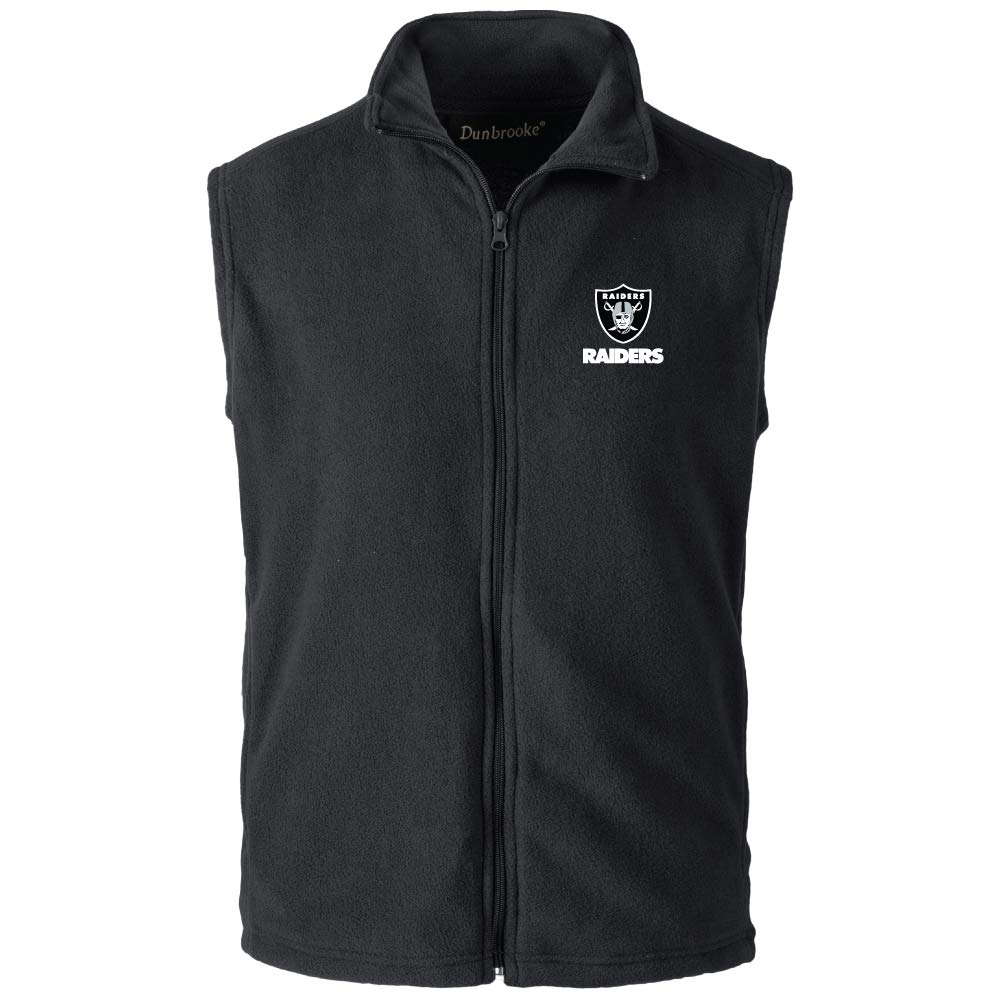 Black Large NFL Oakland Raiders Mens Houston Fleece Vest