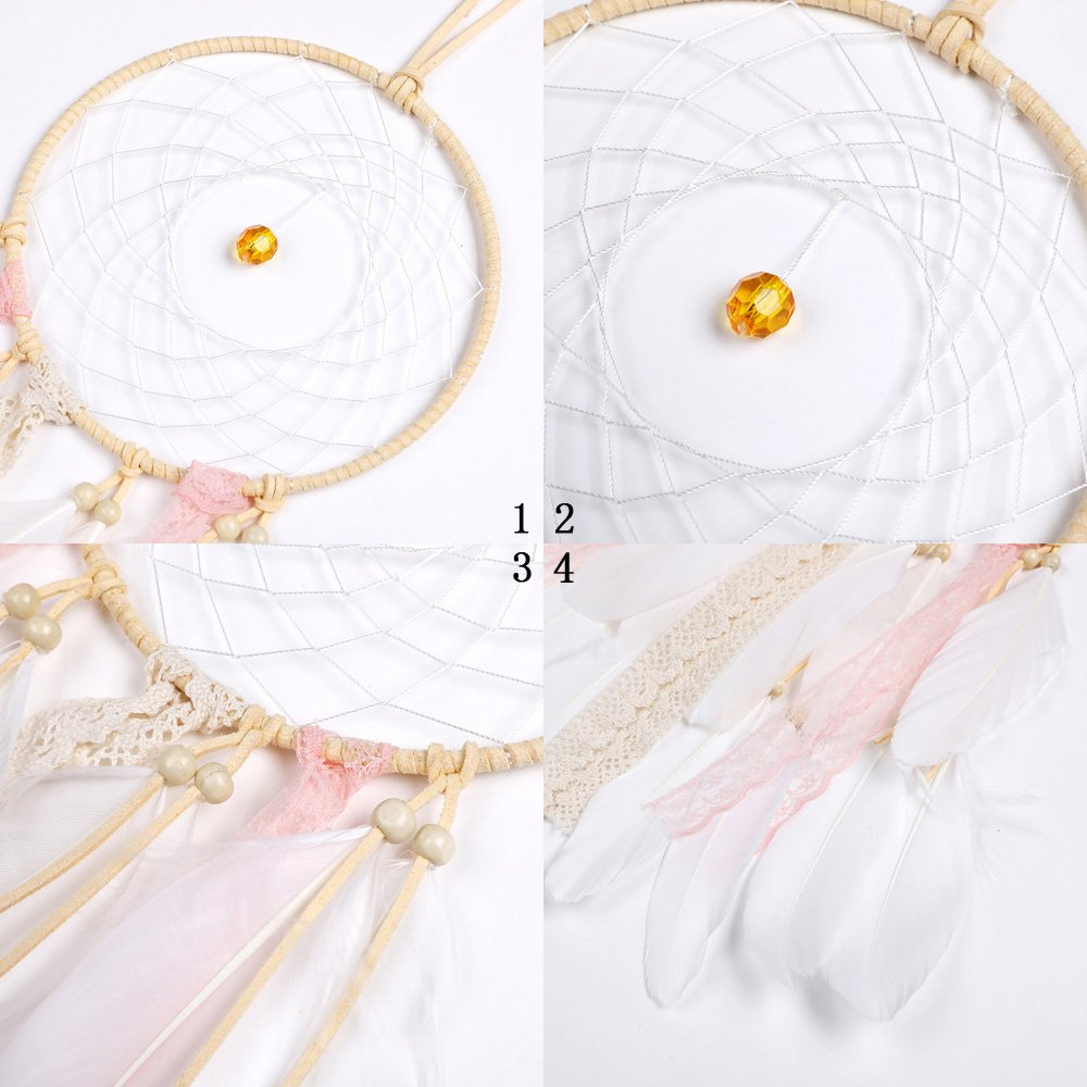 Handmade Dream Catcher for Kids Indian Wall Hanging Home and Garden Decor Ornament Craft (Pink-A)
