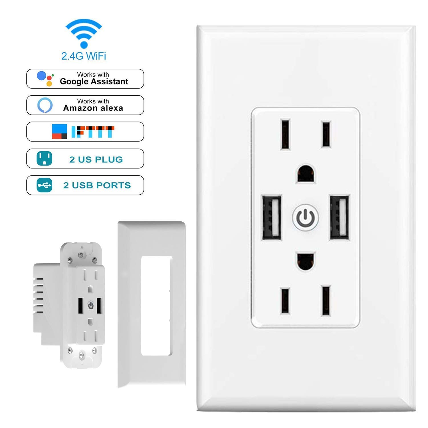 Smart WiFi Wall Outlet, Top & Bottom Outlets are Independently Controllable, Duplex Receptacle Socket, Works with Alexa Dot Echo Plus Google Assistant IFTTT, No Hub Required by AMDMY (Image #1)