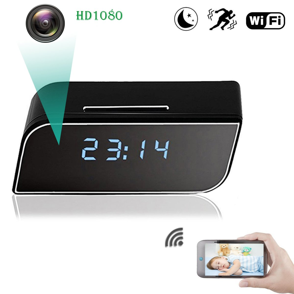 WiFi Spy Hidden Camera, ZDMYING HD1080 Alarm Clock Security Camera Motion Detection Night Vision loop Recording, Up to 64G Storage SD Card for Nanny Home Office (iPhone, Android and PC)