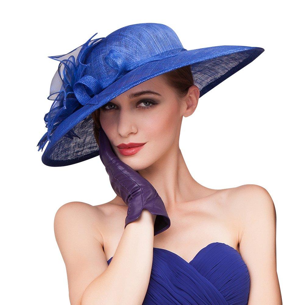 HomArt Women's Floral Wide Brim Sun Hat Beach Wedding Church Kentucky Derby Triple Crown Hat