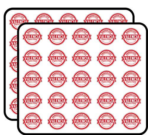 Valencia City Spain Grunge Travel Stamp Sticker for Scrapbooking, Calendars, Arts, Kids DIY Crafts, Album, Bullet Journals 50 Pack