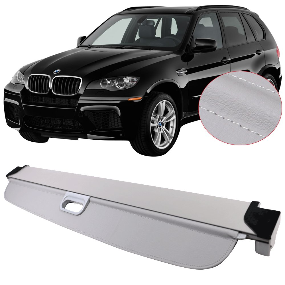 Black Pu Tonneau Cover Retractable By Ikon Motorsports Cargo Cover Fits 2007 2013 Bmw X5 2008 2009 2010 2011 2012 Rear Deck Covers