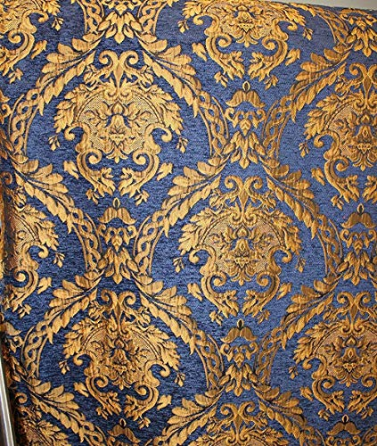 "Damask Tapestry Chenille Fabric - Upholstery Fabric, Blue/Gold - 60"" Width - Sold by The Yard."