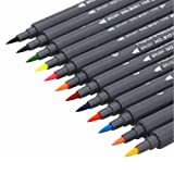 Watercolour Brush Pens Set,SAYEEC 12 Colors Dual Tip Brush Pens with Fineliner Tip Art Marker Soft Flexible Tip Durable Create Watercolour Effect - Best for Adult Colouring Books/Manga/Comic/Calligraphy