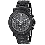 Black Diamond Mens Watch by Luxurman 2ct Fully Paved