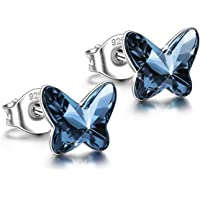 ANGEL NINA Women Butterfly Series Pierced Stud Earrings Neckalce [Sold Separately] 925 Sterling Silver, Crystals from Swarovski, Valentines Gifts, Elegant Jewellery Box, Nickel Free Passed SGS Test