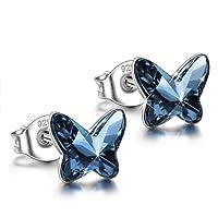 ANGEL NINA Women Butterfly Series Pierced Stud Earrings Neckalce 925 Sterling Silver with Blue Swarovski Crystals, Christmas Gifts Elegant Jewellery Gift Box, Nickel Free Passed SGS Test