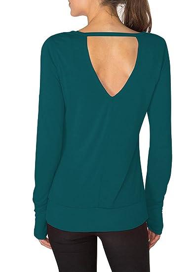 108adb975f77b Yucharmyi Women's Sexy Backless Yoga Shirts Long Sleeve Blouse Open Back  Top Stretchy Sport T Shirts
