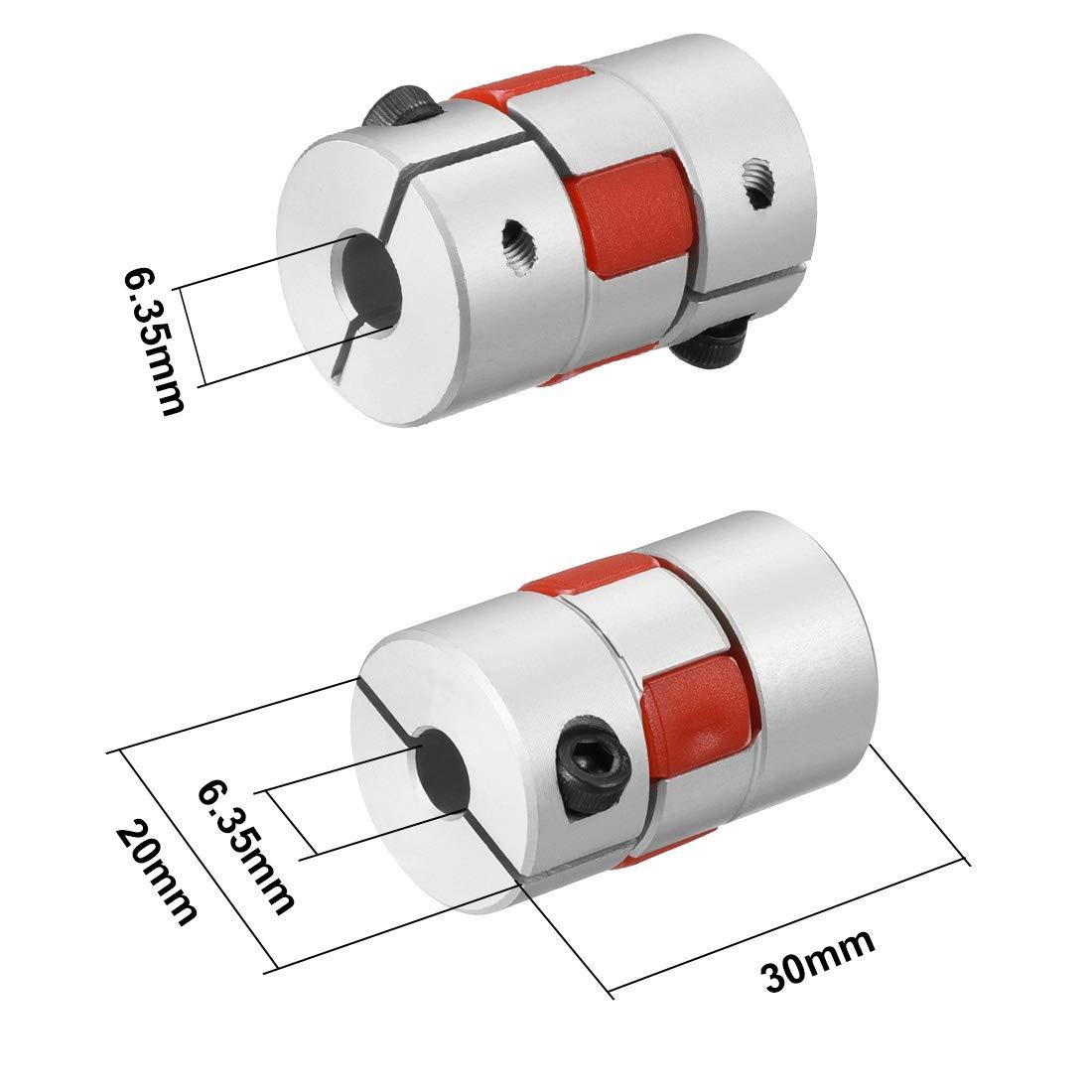 sourcing map Arbre Couplage 4mm /à 4mm Calibre L30xD20 Flex Coupleur Joint Servo pour Moteur