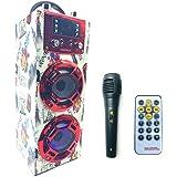 Altavoz Karaoke con Micrófono Inalámbrico 35W Altavoz Portátil Bluetooth Reproductor RadioFM Dos Entrada MIC USB…