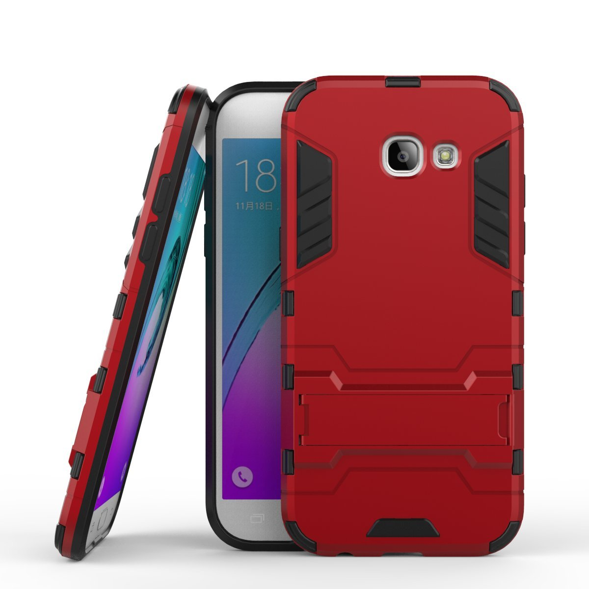 Galaxy A5 2017 Case, A520F Case, SsHhUu Shock Proof Cover Dual Layer Hybrid Armor Combo Protective Hard Case with Kickstand for Samsung Galaxy A5 2017 / A520F (5.2') Red shu-29247
