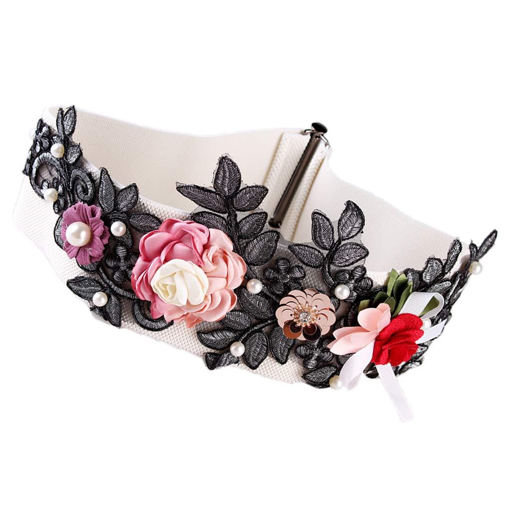 Sharplace Cinturilla Elástica Ancha con Flores Perlas Artificiales para Vestido de Mujer Señora