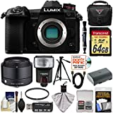Panasonic Lumix DC-G9 4K Wi-Fi Digital Camera Body with 19mm f/2.8 Lens + 64GB Card + Battery + Case + Flash + Tripod Kit