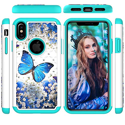 iPhone Xs Case 2018, iPhone X Case 2017, Dteck Slim Fit 2 Layer Shockproof Heavy Duty Protection Hybrid Soft Rubber & Silicone Hard PC Back Cover for Apple iPhone Xs/X (5.8 inch), Blue Butterfly