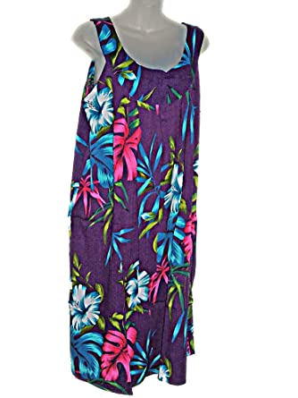 7607229a63b5 East of Maui Hawaiian Store Tropical Hawaiian Floral Plus Size Summer Dress  Cruise Vacation Luau (1X-2X) TC036 at Amazon Women's Clothing store: